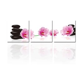 Wholesale spa art - 3 Pieces Paintings Wall Art Moist Spa Stone Tower and Pink Flower Picture Print on Canvas for Modern Home Decoration