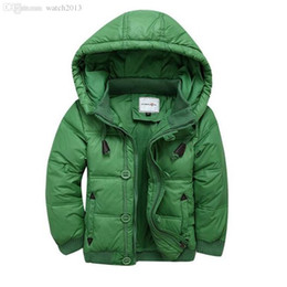 Wholesale Coat Clearance - Wholesale-2016 Winter Down Jacket Boy Hooded Solid Short Thick Warm Coats And Jackets Clearance Processing