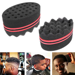 Wholesale Black Hair Curl - Sponge Hair Brushes Barber Create Hairstyles For Short Hair Curl Wave Ellipse Magic Tool Both Sides Sponge for Blacks Hair Styling Tool