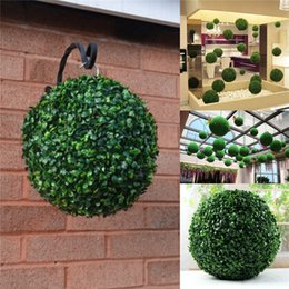 Wholesale Plastic Topiary - Hot Sale removable 35cm Plastic Topiary Leaf Effect grass Ball trees Hanging Indoor and Outdoor decoration