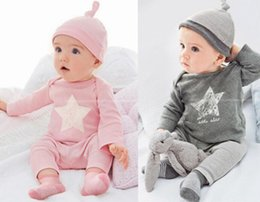 Wholesale Shirt Pants Hat - T-shirts pants hat 3pcs sets Star 2016 Spring Fall baby girl clothing European kids 6M 12M 18M 1YEAR 2Y Toddler cotton clothes long sleeve