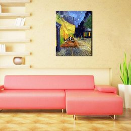 Wholesale Artwork Reproductions - One-Picture Combination Cafe Terrace at Night Vincent Van Gogh Artwork Oil Paintings Reproduction Landscape Wall Art for Home Decorations