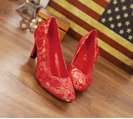 Wholesale Cheongsam Knot - Free shipping Chinese style Tradition cheongsam Dragon Married Shoes Retro Satin Embroidered Shoes Bridal shoes Big Red Ladies' shoes