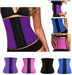 Wholesale Latex Shaper Waist Cincher Wholesale - 9 steel bone Latex Rubber corset body shaper Waist Trainer training corsets Corset Latex Corset Latex Waist Cincher Slimming Shapewear