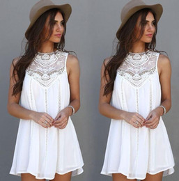 Wholesale Plus Size Wholesalers - Summer Dress Sexy Women Casual Sleeveless Beach Short Dress Tassel Solid White Mini Lace Dress Vestidos Plus Size