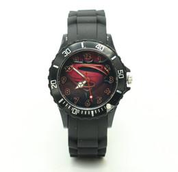Wholesale Superman Quartz Watches - Cool Fashion Superman Sport Shockproof Army Rubber Silicone Quartz Watch Wristwacth for Men Male Women Black