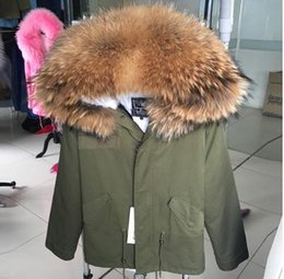 Wholesale Sweden Canada Parka - FREE SHIPPING Ladies mini parkas hooded with Real raccoon fur collar warm Liner Detachable Canada Sweden Norway