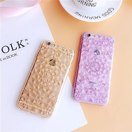 Wholesale Rubber Iphone Case Flower - Luxury Bling Flower 3D Diamond Glitter Transparent Crystal Case Rubber Protective Soft TPU Cover for iphone 6 plus 5s