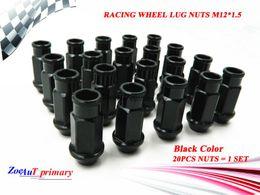 Wholesale Racing Lug Nuts - 20PCS set Black JDM RACING WHEEL LUG NUTS M12*1.5 FOR Universal JDM Car Black