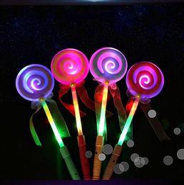Wholesale Lollipop Sticks Wholesale - 34CM Cute Lollipop Ribbons LED Glowing Stick Flashing Light Kids Concert Wedding Birthday Party Decoration ZA3718