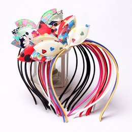 Wholesale Hair Hoops For Girls - Free DHL Express 4 inch Kids Hair Hoop Ribbon Bow Hair Sticks for Girls Fashion Baby Double Bows Headwear Hairs Accessories Mixed Style