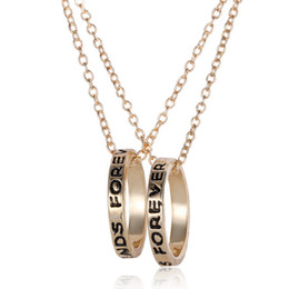 Wholesale Ring Forever Love Gold - Silver & Gold BFF Best Friends Forever 2 Part Love Rings Eternity Necklaces Gold Silver Plated Pendant Necklaces Jewelry Charm Jewellry