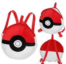 Wholesale pikachu plush backpack - Poke Pikachu Pets cartoon plush backpack school bag Cute cartoon red coal dust balls elves Free shipping
