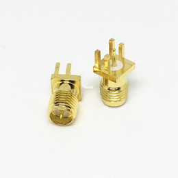 Wholesale Antenna Mobile Signal - 10Pcs\Lot Brass RP-SMA Male Plug Center Solder PCB Clip Edge Mount RF Connector for Mobile Signal Booster Antennas Coaxial Cables