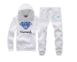 hip hop clothing diamond hoodie Promo Codes - S-5XL new set Diamond Supply Co hoodie sweatshirt fashion hip hop new rock hooded+pants pullover sportswear clothes