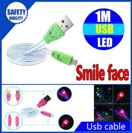 Wholesale Visible Led - Illuminated Smile Face 1m 3ft LED Light Micro USB V8 Flat Visible Flashing Noodle Data Charger Cable For Samsung S4 HTC LG