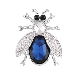 Wholesale Beetle Pin - New bijouterie rhinestone crystal beetle brooches for women men fashion jewelry white gold plated cute unisex brooch pin gift