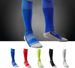 Wholesale Wholesale Bao - 10 colors R-Bao Brand Children Long Football Socks Professional Sport Protection Design Cotton Nylon Material for 8-13 Age DHL free ship