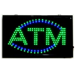 Wholesale Bright Places - Wholesale-High Quality Animated LED ATM LED Neon Sign Bright Flashing Colour LED ATM Sign Display Hanging Light