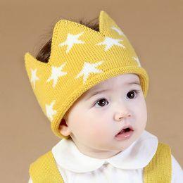 Wholesale Baby Birthday Girl Tiara - Autumn Winter Infant Baby Knitted Crown Tiara Hat Kids Crochet Headband Cap Children Birthday Party Beanies Boys Girls Knitting Hats 42x12cm