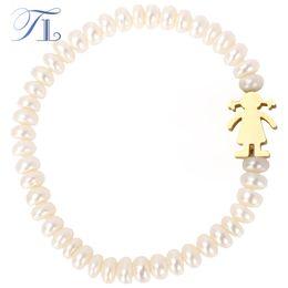 Wholesale Gold Bracelets For Boys - TL White Pearl Charm Bracelet For Women Boy Girl Charm Stainless Steel Fashion Femme Bangle Bracelet Spain Famous Pearl Jewelry