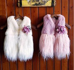 Wholesale Plush Fluffy Winter - 2017 winter New Girls Waistcoat Corsage Plush Thick Fluffy Vest Children Clothing 2-6Y WT186
