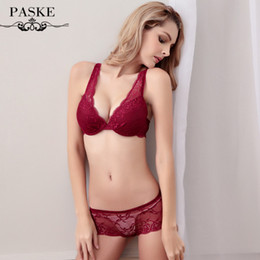 Wholesale Transparent Push Up Bra - Wholesale-France Brand Full Lace Wedding Bra brief Sets Underwear Sexy Push Up Bras and Transparent Women Intimates Bra and Panty Set 216
