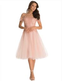vestidos de fiesta de camuflaje blanco Rebajas Fshion Applique Pink Prom Vestidos Sexy Sheer Neck Backless Vestidos de baile Cortos, sin mangas hasta la rodilla Vestidos de baile Lovely Pink Party Dress