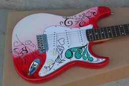 Wholesale Custom Guitars China - Custom Shop Jimi Hendrix's Red Guitars Monterey Tribute Hendrix Monterey Electric Guitar China ST Rare Guitars String Thru Body