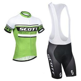 Wholesale Scott Pants - Scott Cycling Jersey Sets Summer Green Cycling Suit Ropa Ciclismo Quick Dry Bicycle Racing Clothes Wear Padded Pants Wholesale Garment