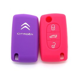 Wholesale Citroen C5 Key - Silicone Rubber 3 Buttons Key Cover Case For Citroen C4 C5 Aircross C4 Cactus C3 C4L Remote Flip Folding Car Keyring
