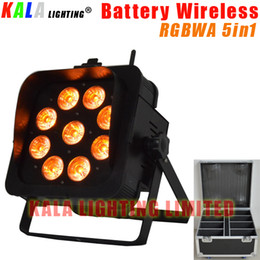Wholesale Led Rechargeable Dj - (8Pcs Lot) High Quality By Rechargeable Flycase DJ LCD Display Battery Powered Wireless DMX LED 9X15W RGBWA 5in1 PAR Light With Barn Door