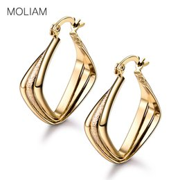 Wholesale Gold Jewellery Designs - Wholesale- MOLIAM Fabulous Design Engagement Earrings for Women Fashion Luxurious Knot Hoop Earing Jewellery Gift MLE404
