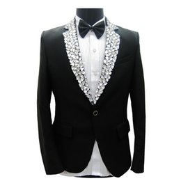 Wholesale Tuxedo Decorations - Wholesale- Man Suit Jacket Stage Performance Collar Rhinestone Decoration Black Tuxedo with Pants Autumn Winter Men Suit Jackets 4pcs Set
