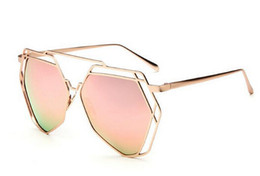 Wholesale Frame Out Mirror - 1pcs high quality woman fashion UV400 sunglasses metal hollow out sun glasses Colorful ladies Mirror 8colors Goggle drop shipping