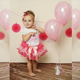 Wholesale Cake Skirt Children - Wholesale-Children Sets 2016 girl's two-piece suits baby short sleeve Happy birthday t shirt Bow tutu cake skirts set birthday girl