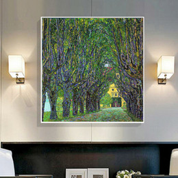 Wholesale gustav paintings - Famous Gustav Klimt Landscapes Oil Painting Canvas Printings Modern Abstract Wall Art Picture for Living room Home Decor Unframed