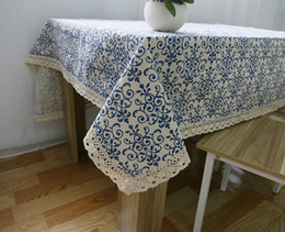 Wholesale White Linen Table Cloth - Table Cloths Cotton Linen Table Blue and white Printing Customized Home European Simple Lace Tablecloths Hot Selling Wholesale Table Covers