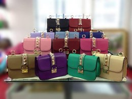 Wholesale Designers Woman Dress - Luxury Designer Handbags High Quality Valentine Italian Genuine Leather Bag Rivet Chain Crossbody Bags For Women Shoulder Bags 16 color