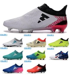 Wholesale Male Genuine Leather Boots - Men's X 16 Purechaos FG AG Soccer Shoes Men Messi 16 Pureagility FG Football Shoes Male Soccer Boots Football Boots Soccer Football Cleats