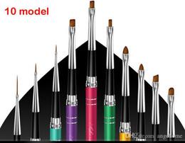 Wholesale Doting Tools - 10 color Mink Hair Nail ART Brush PEN Tools Painting Doting PEN Phototherapy pen set Nail Tools Set
