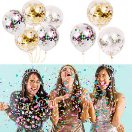 Wholesale Transparent Latex Balloon - 12inch Gold Confetti Balloons 3 Style Latex Transparent Clear Balloon Baby Children Adult Party Birthday Wedding Decoration DHL Free WX9-47