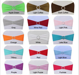 Wholesale Covers Sashes - Spandex Lycra Wedding Chair Cover Sash Bands Wedding Party Birthday Chair buckle sashe Decoration Colors Available WT032