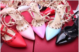 Wholesale Shoes Sex White - Classic 6cm Heel Sandals,Sex Pointed Toe Leather Straps Rivets Shoes Drop shipping