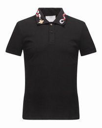 Wholesale Top Branded T Shirts - Newest fashion men brand polo t-shirt embroidery Snake collar classic t shirt short-sleeved t shirt G Striped lovers girls women men Top Tee