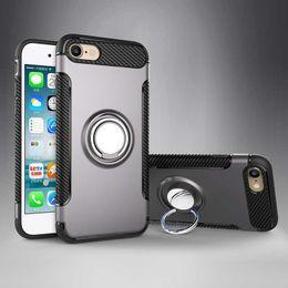 iphone ring ring Promotion Boîtier d'armure hybride en TPU + PC 2 en 1 Boîtiers anti-choc Boîtier arrière pour support d'anneau magnétique pour iPhone X 8 7 6