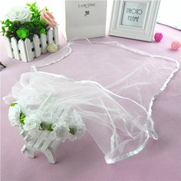 Wholesale Tulle Flowers For Hair - Two Layers Long Flower Girls Veils Ribbon Edge With Hand Made Flowers for Wedding Hair Accessories