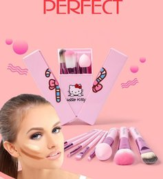 Wholesale Wholesale Mirror Brush Sets - cute KT Makeup Brushes 8pcs Make Up Cosmetic Brush Kit with Mirror Case Pink beauty Cosmetic tools blush lip Brushes kka2385