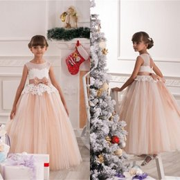 Wholesale Cheap Gold Sash Belt - Vintage Lace Flower Girls Dresses For Wedding Party Custom Winter Sashes Belt Tulle Ball Gown Cheap Birthday Party Dress