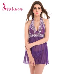 Wholesale Nighty Dressed Women Sexy - Wholesale- Wealurre 5 Colors Women Sexy Lingerie Dress Lace Babydoll Open Front Open Nighty Chemise Dress Sexy Nightie Negligee Nightgown